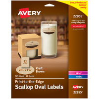 Avery 22855 1 1/8 inch x 2 1/4 inch Kraft Brown Scalloped Oval Print-to-the-Edge Label   - 525/Pack