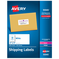 Avery 95945 2 inch x 4 inch White Permanent Printable Bulk Shipping Label - 2500/Box