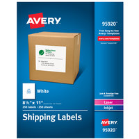 Avery 95920 8 1/2 inch x 11 inch White Permanent Printable Bulk Shipping Label - 250/Box