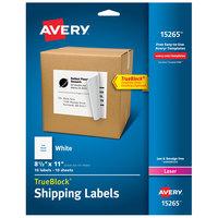 Avery 15265 TrueBlock 8 1/2 inch x 11 inch White Full Sheet Shipping Labels - 10/Pack