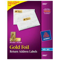 Avery 08987 3/4 inch x 2 1/4 inch Gold Rectangle Foil Return Address Labels - 300/Pack