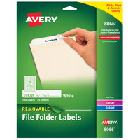 Avery 08066 2/3 inch x 3 7/16 inch White Rectangle Filing Labels - 750/Pack