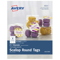 Avery 80511 2 1/2 inch White Textured Scallop Edge Printable Round Tag - 90/Pack