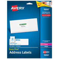 Avery 18262 Easy Peel 1 1/3 inch x 4 inch White Sure Feed Address Labels   - 140/Pack