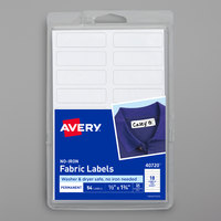 Avery 40720 1/2 inch x 1 3/4 inch White Rectangle No-Iron Write-On Fabric Labels - 54/Pack