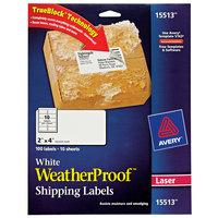 Avery 15513 TrueBlock WeatherProof 2 inch x 4 inch White Permanent Laser Mailing Label - 100/Pack