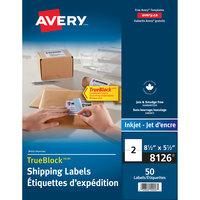 Avery 08126 TrueBlock 5 1/2 inch x 8 1/2 inch White Rectangle Internet Shipping Labels - 50/Pack