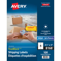 Avery 08168 TrueBlock 3 1/2 inch x 5 inch White Permanent Inkjet Shipping Label - 100/Pack