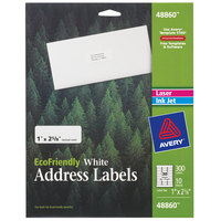 Avery 48860 Eco-Friendly 1 inch x 2 5/8 inch White Rectangle Address Labels - 300/Pack