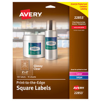 Avery 22853 Easy Peel 2 inch x 2 inch Glossy Clear Square Print-to-the-Edge Labels - 120/Pack