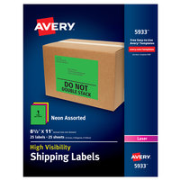Avery 05933 8 1/2 inch x 11 inch High Visibility Assorted Neon Color Shipping Labels - 25/Pack