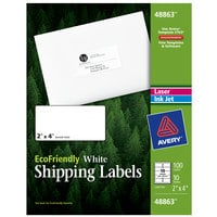 Avery 48863 Eco-Friendly 2 inch x 4 inch White Rectangle Shipping Labels - 100/Pack