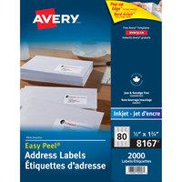 Avery 08167 Easy Peel 1 3/4 inch x 1/2 inch White Return Address Labels - 2000/Pack