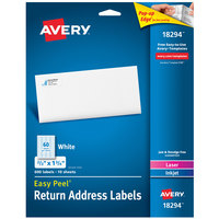Avery 18294 Easy Peel 2/3 inch x 1 3/4 inch White Sure Feed Address Labels - 600/Pack