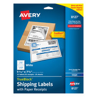 Avery 08127 TrueBlock 5 1/16 inch x 7 5/8 inch White Rectangle Shipping Labels with Paper Receipts - 25/Pack