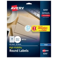 Avery 08293 High Visibility 1 1/2 inch Matte White Round Labels - 500/Pack