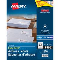 Avery 08195 Easy Peel 1 3/4 inch x 2/3 inch White Return Address Labels - 1500/Pack