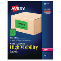 Avery 05917 5 1/2 inch x 8 1/2 inch High Visibility Assorted Neon Color ID Labels - 30/Pack