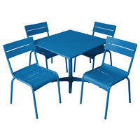BFM Seating YK-B32BY Beachcomber 32 inch Square Berry Aluminum Outdoor Table with 4 Chairs