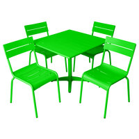 BFM Seating YK-B32LM Beachcomber 32 inch Square Lime Aluminum Outdoor Table with 4 Chairs