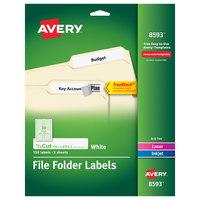 Avery 08593 TrueBlock 2/3 inch x 3 7/16 inch Matte White Permanent Printable File Folder Label - 150/Pack