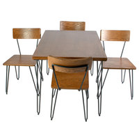 BFM Seating YO-NV36S 36 inch x 36 inch NV Table with Veneer Wood Top and 4 Solid Ash Chairs