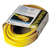 CCI 01687 25' Yellow Indoor / Outdoor Extension Cord with Lighted End