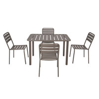 BFM Seating YD-ER3248 Vista 32 inch x 48 inch Rectangular Earth Aluminum Outdoor / Indoor Standard Height Table with 4 Chairs