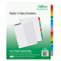 Avery 24843 Office Essentials A-Z Tab White / Multi-Color Table 'n Tabs Divider Set - 3/Pack
