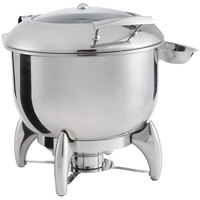 Choice Supreme 11 Qt. Round Stainless Steel Induction Soup Chafer with Glass Top, Soft-Close Lid, and Stand with Fuel Holder