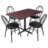 Lancaster Table & Seating 30 inch x 48 inch Reversible Cherry / Black Standard Height Dining Set