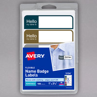 Avery 05154 1 inch x 3 3/4 inch Assorted Matte Color Removable Flexible Adhesive Printable Name Badge Label - 100/Pack