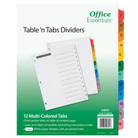 Avery 24841 Office Essentials 12-Tab White / Multi-Color Table 'n Tabs Divider Set - 6/Pack