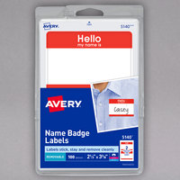 Avery 05140 2 1/3 inch x 3 3/8 inch Matte White / Red Removable Adhesive Printable Name Badge Label - 100/Pack