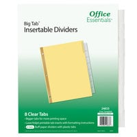Avery 24833 Office Essentials Big Tab 8-Tab Buff Paper / Clear Printable Insertable Divider Set - 6/Pack