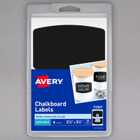 Avery 73361 2 1/2 inch x 3 3/4 inch Matte Black Removable Handwrite Only Chalkboard Label - 8/Pack
