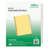 Avery 24831 Office Essentials Big Tab 5-Tab Buff Paper / Clear Printable Insertable Divider Set - 6/Pack