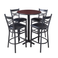 Lancaster Table & Seating 30 inch Round Reversible Cherry / Black Bar Height Dining Set