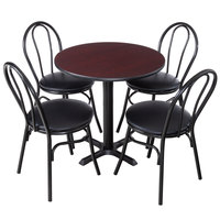 Lancaster Table & Seating 30 inch Round Reversible Cherry / Black Standard Height Dining Set