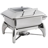 Choice Supreme 5 Qt. 2/3 Size Stainless Steel Induction Chafer with Glass Top, Soft-Close Lid, and Stand with Fuel Holder