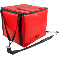 Sterno 72610 Red Small Stadium Insulated Food Carrier, 16 inch x 15 inch x 4 inch - Holds (20) Hot Dogs