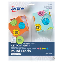 Avery 04330 AstroBrights 1 2/3 inch Assorted Matte Color Easy Peel Printable Round Label - 240/Pack