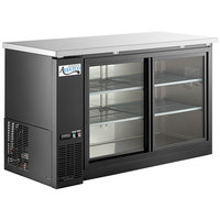 Avantco UBB-60S-HC 60 inch Black Counter Height Narrow Sliding Glass Door Back Bar Refrigerator with LED Lighting