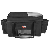 Sterno 70531 Delivery Deluxe Space Saver Black XL Insulated Food Carrier, 22 inch x 13 inch x 14 inch - Holds (8) 9 inch x 9 inch x 3 inch Meal Containers