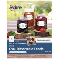 Avery 14223 1 1/2 inch x 2 1/2 inch Matte White Dissolvable Printable Oval Label - 54/Pack