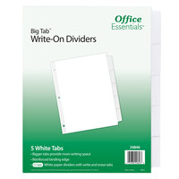 Avery 24846 Office Essentials Big Tab 5-Tab White Write-On Divider Set - 12/Pack