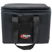 Sterno 72604 Black Medium Delivery Insulated Food Carrier, 14 inch x 10 inch x 10 inch - Holds (20) Cans
