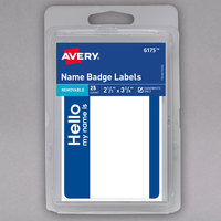 Avery 06175 2 1/3 inch x 3 3/8 inch Matte White / Blue Removable Adhesive Handwrite Only Name Badge Label - 25/Pack