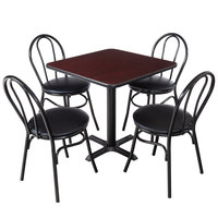 Lancaster Table & Seating 30 inch x 30 inch Reversible Cherry / Black Standard Height Dining Set