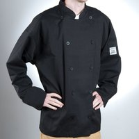 Chef Revival J030BK-L Chef-Tex Size 46 (L) Black Customizable Poly-Cotton Traditional Chef Jacket